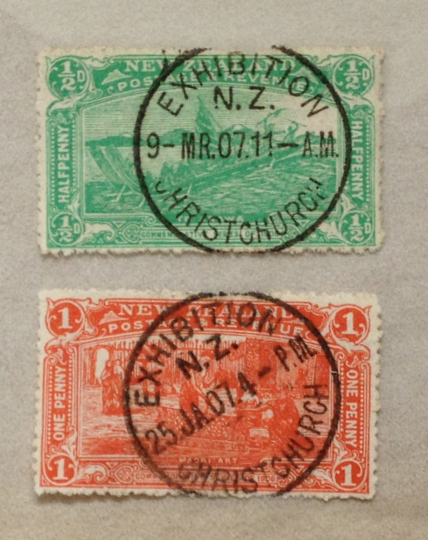 NEW ZEALAND 1906 Christchurch Exhibition ½d and 1d both with fine Exhibition cancels. Excellent display items. - 75068 - VFU image 0
