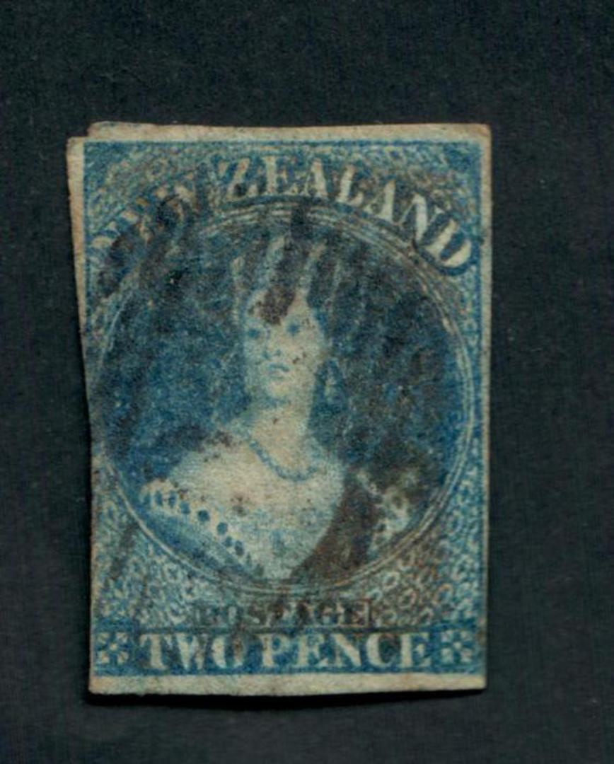 NEW ZEALAND 1855 Full Face Queen 2d Deep {Greenish) Blue. Imperf. Good colour. Postmark off face. Three margins. CP catalogue wi image 0