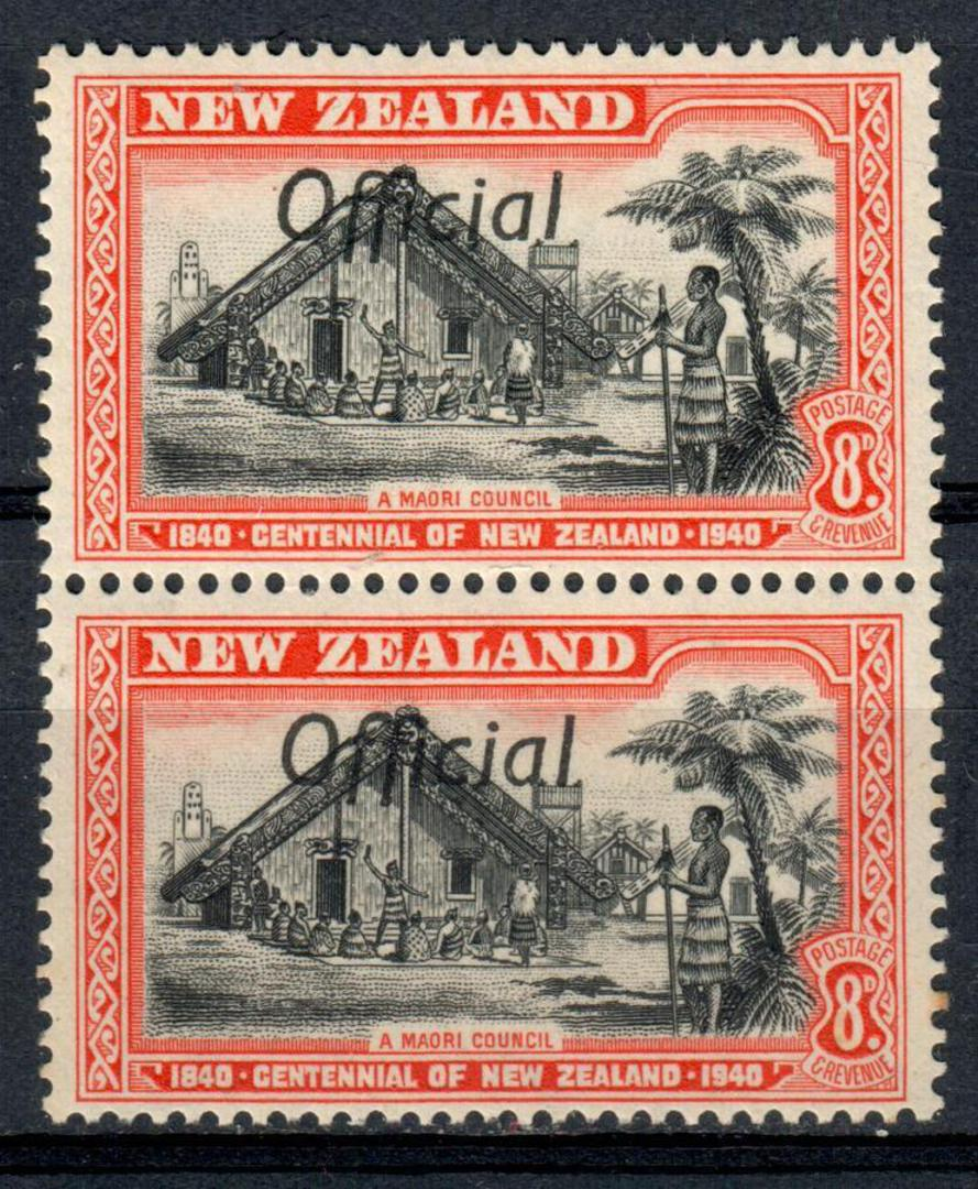 NEW ZEALAND 1940 Centennial Official 2d Abel Tasman. Joined FF in pair with normal. Under the glass this looks interesting. The image 0