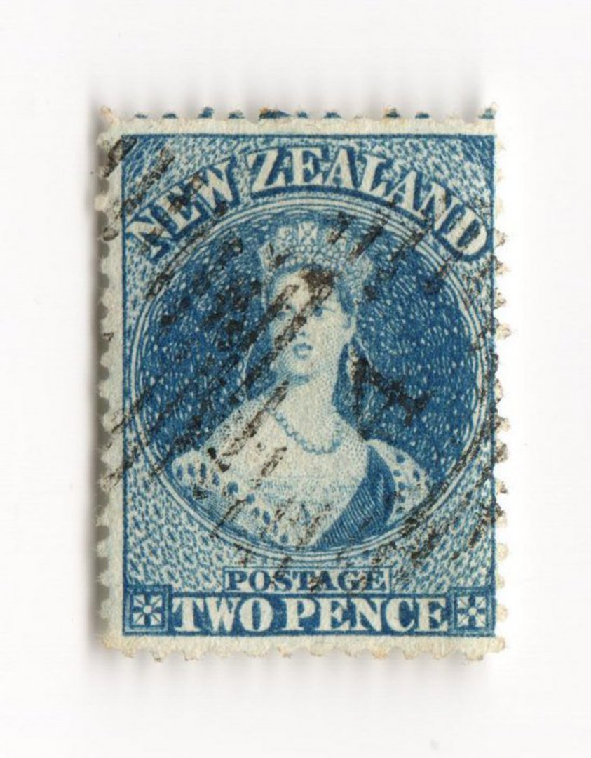 NEW ZEALAND 1862 Full Face Queen 2d Blue. Perforated. Light cancel that partly obscures the face. An excellent copy. - 74010 - F image 0