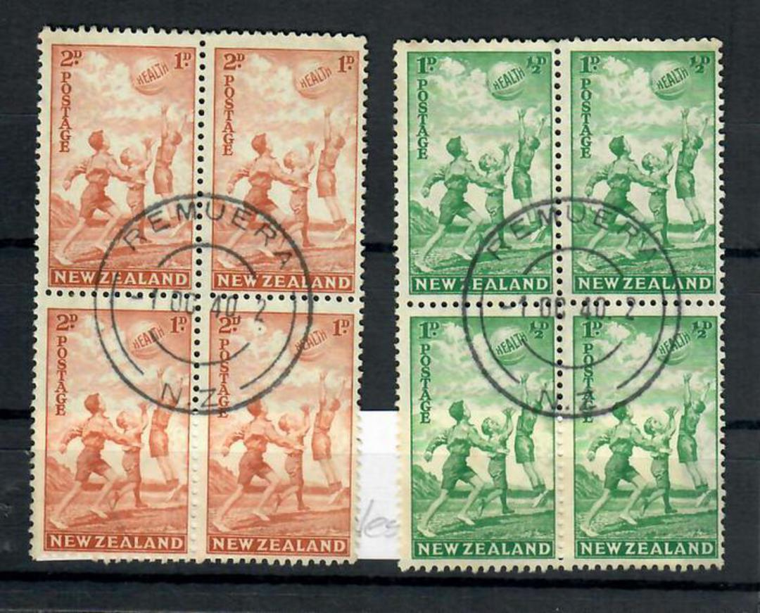 NEW ZEALAND 1940 Heath. Set of 2. in blocks of 4 with fine Remuera H class cancel. - 20118 - FU image 0