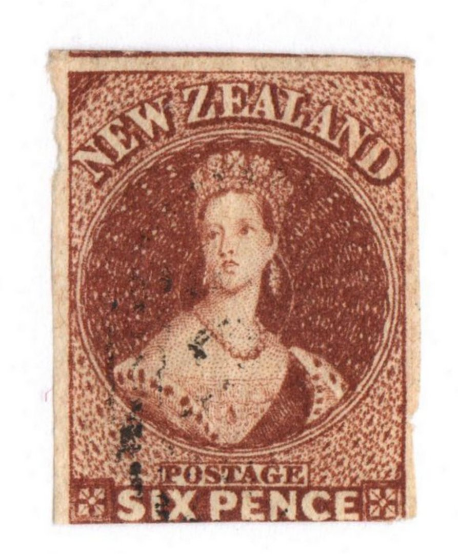 NEW ZEALAND 1855 Full Face Queen 6d Red-Brown. Imperf. Watermark Large Star. Three margins. Slightly cut into at the bottom but image 0