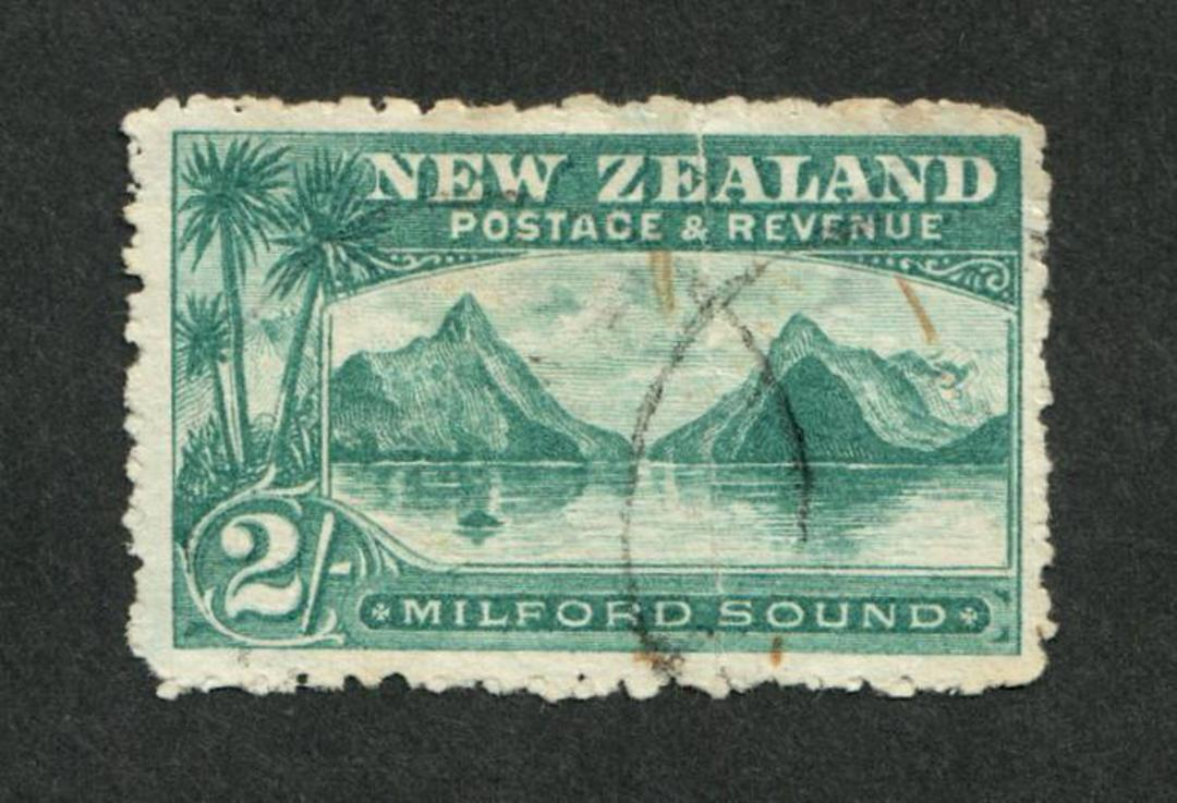 NEW ZEALAND 1898 Pictorial 2/- Milford Sound. - 10049 - FU image 0
