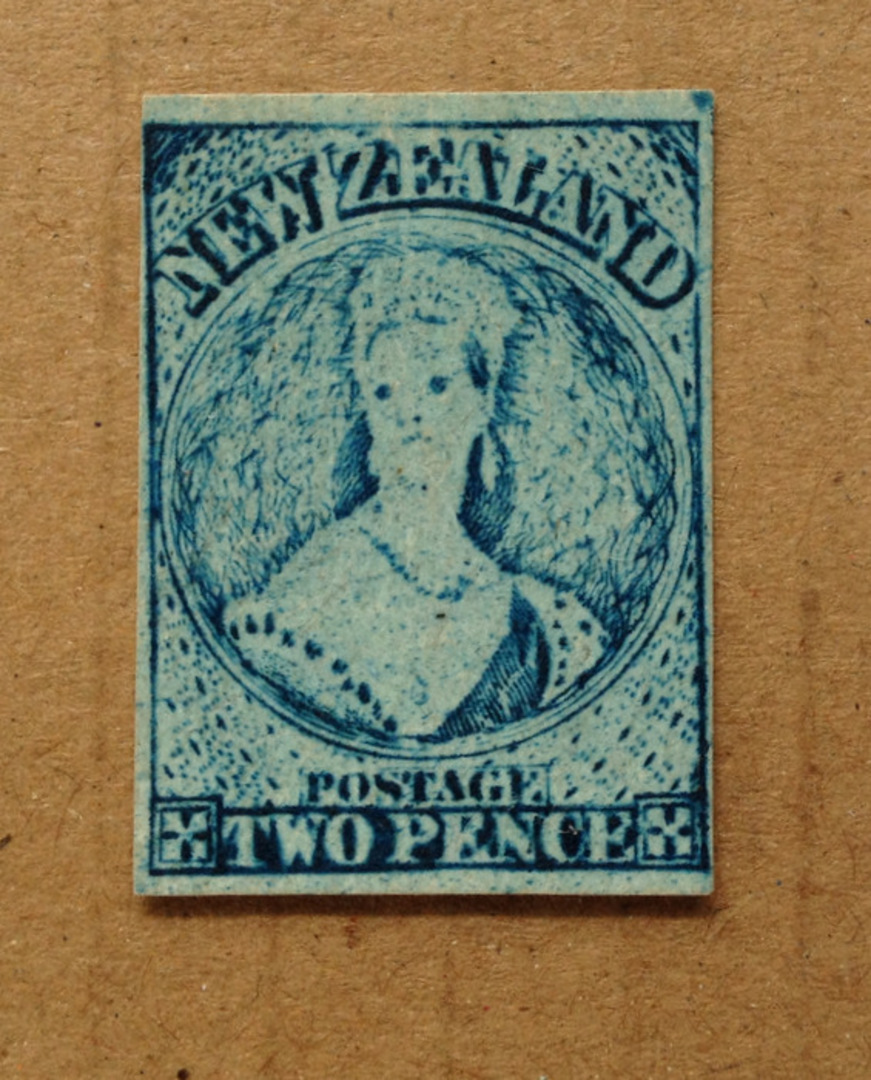 NEW ZEALAND 1855 Full Face Queen 2d Bright Blue. Intra-Production Plate Proof. - 79440 - Mint image 0