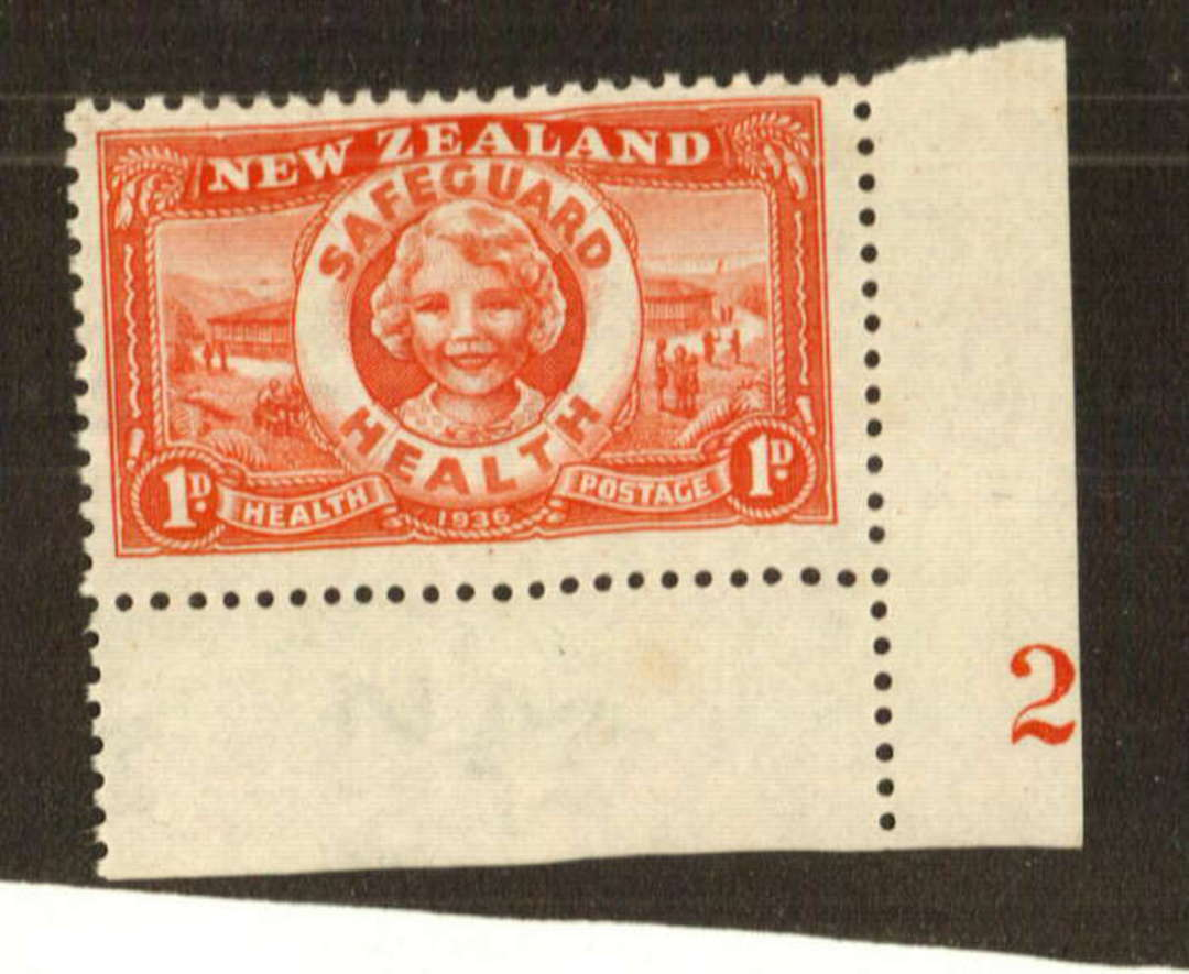 NEW ZEALAND 1936 Health Lifebuoy 1d Red. Corner stamp with Plate 2. - 74747 - UHM image 0