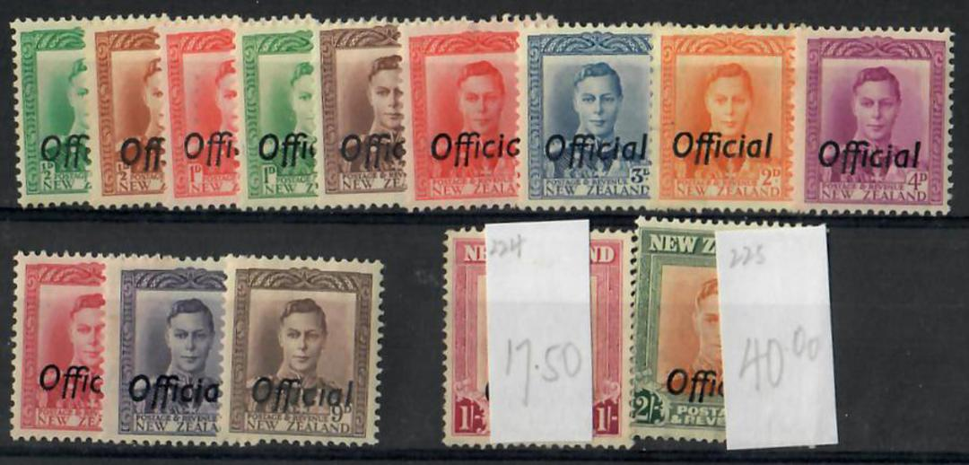 NEW ZEALAND 1938 Geo 6th Officials. Set of 14. - 21874 - UHM image 0