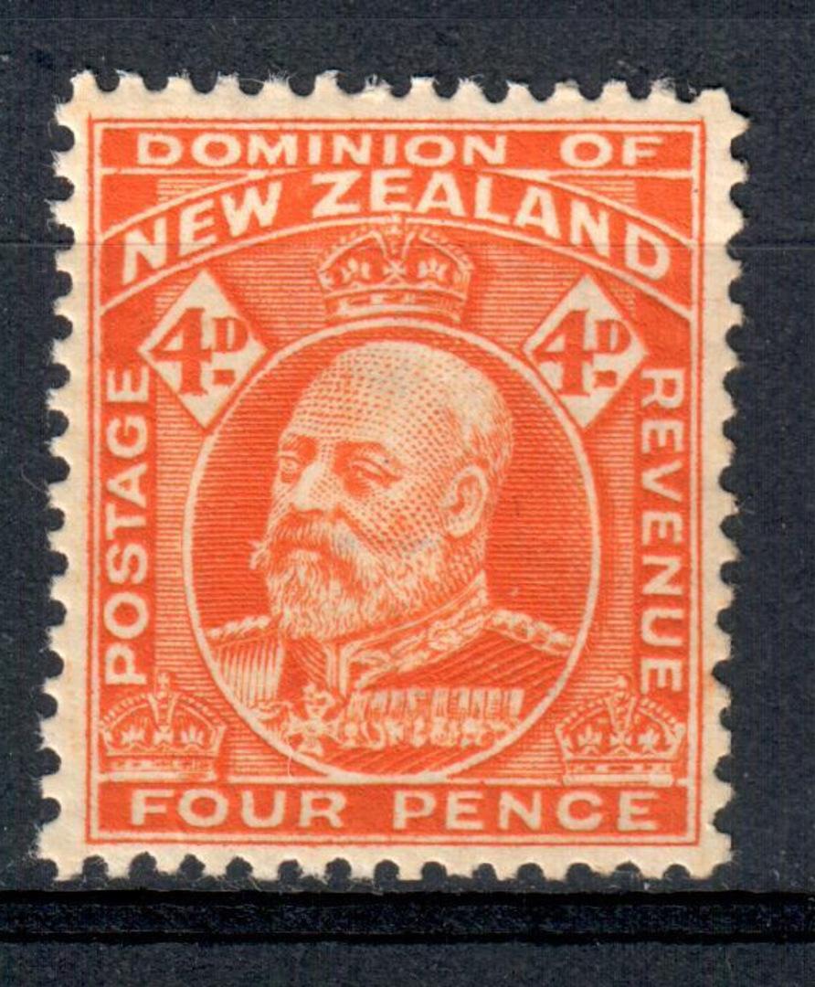 NEW ZEALAND 1909 Edward 7th Definitive 4d Orange. - 80 - UHM image 0