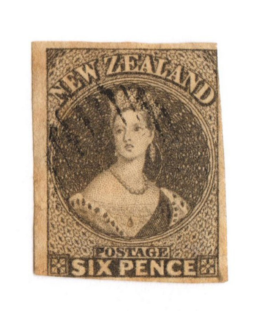 NEW ZEALAND 1855 Full Face Queen 6d Black-Brown. Mostly excellent  margins, just touching. Light postmark. Very attractive. - 70 image 0