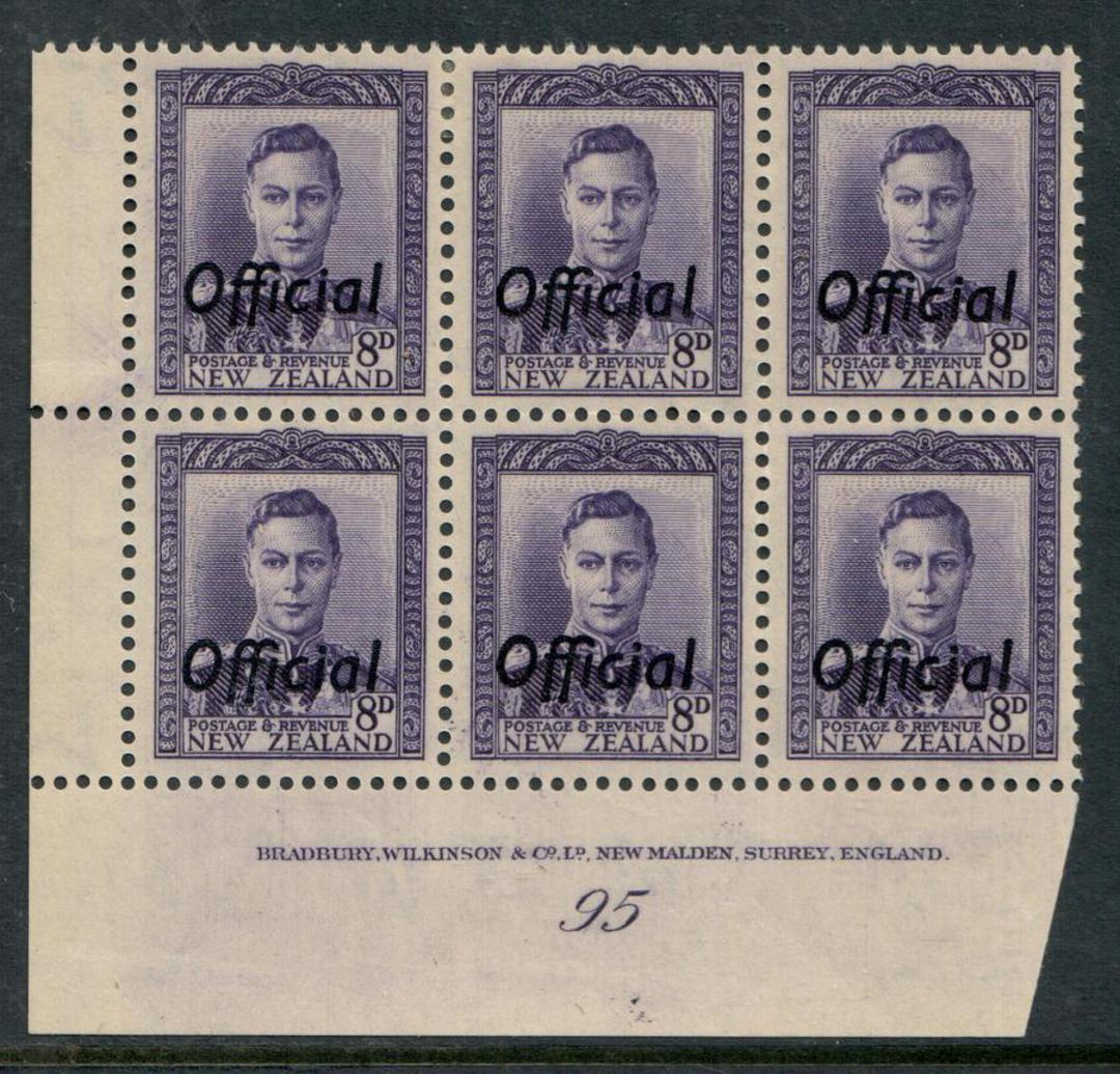 NEW ZEALAND 1938 Geo 6th Official 8d Violet. Plate 95. - 56532 - UHM image 0