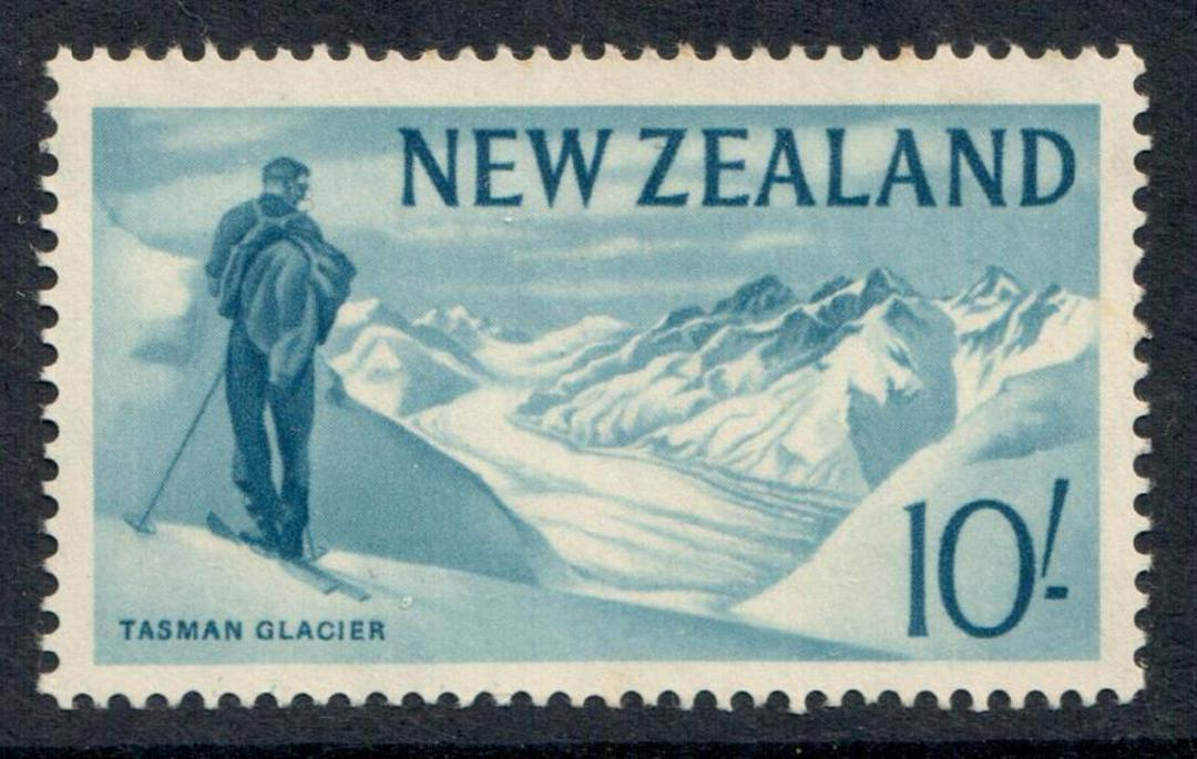 NEW ZEALAND 1960 Pictorial 10/- Blue. - 363 - UHM image 0
