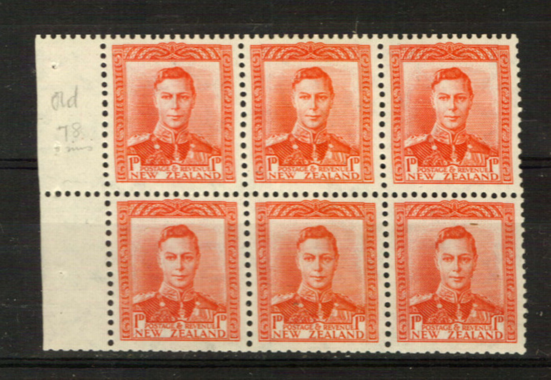 NEW ZEALAND 1938 Geo 6th Definitive 1d Red. Booklet Pane from W6a with inverted watermark. - 21849 - LHM image 0