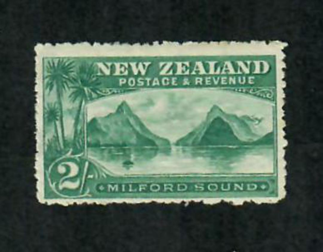NEW ZEALAND 1898 Pictorial 2/- Blue-Green. Third Local Issue. Perf 14. Very lightly hinged. - 79368 - LHM image 0