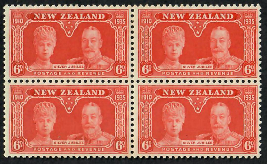 NEW ZEALAND 1935 Silver Jubilee 6d Orange. Block of 4. - 21804 - LHM image 0