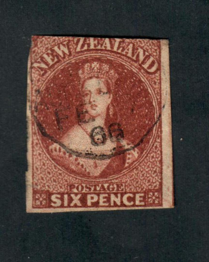 NEW ZEALAND 1855 Full Face Queen 6d Red-Brown. Cut into the top. - 39094 - Used image 0