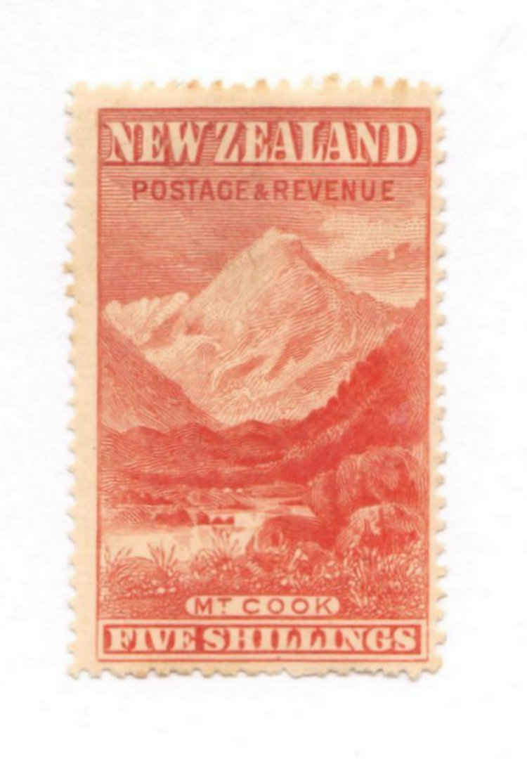 NEW ZEALAND 1898 Pictorial 5/- Orange. London print. Not a cleaned fiscal. - 71376 - MNG image 0