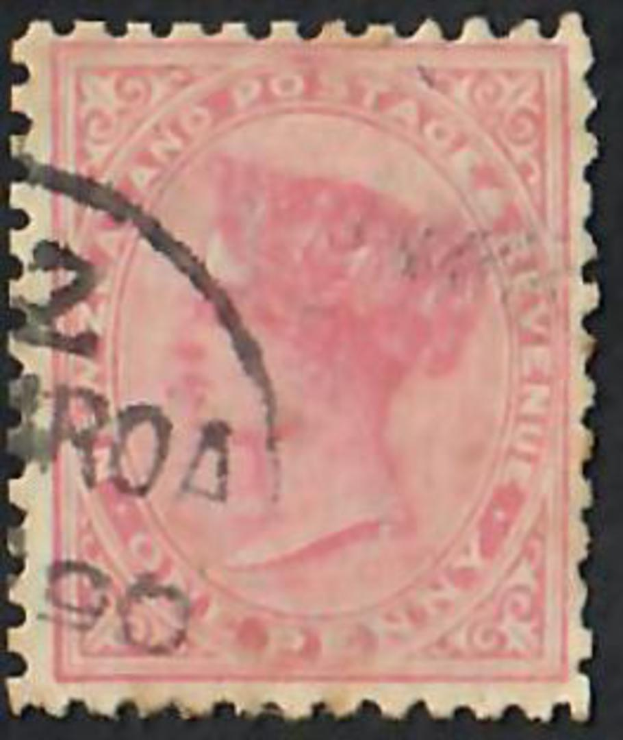NEW ZEALAND 1882 Victoria 1st Second Sideface 1d Rose. Temporary use of Life Insurance paper (1890). Perf 12 x 11½.  The '90 sho image 0