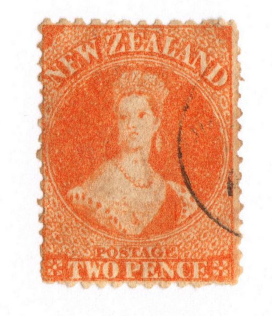NEW ZEALAND 1862 Full Face Queen 2d Orange. Perf 12½. Very light cancel. - 79746 - VFU image 0