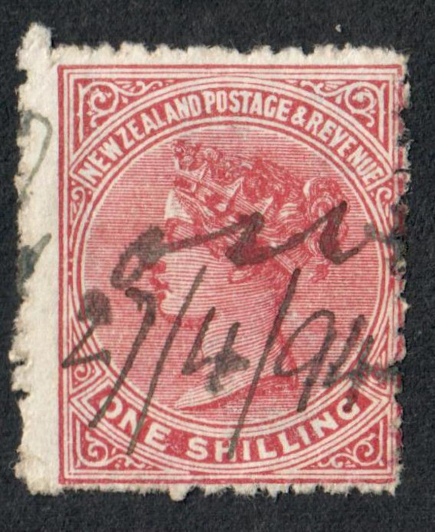 NEW ZEALAND 1882 Victoria 1st Second Sideface 1/- Red-Brown. Perf 12x11½.  3rd setting in Red to Brown-Red. Creases Coffee. Fisc image 0