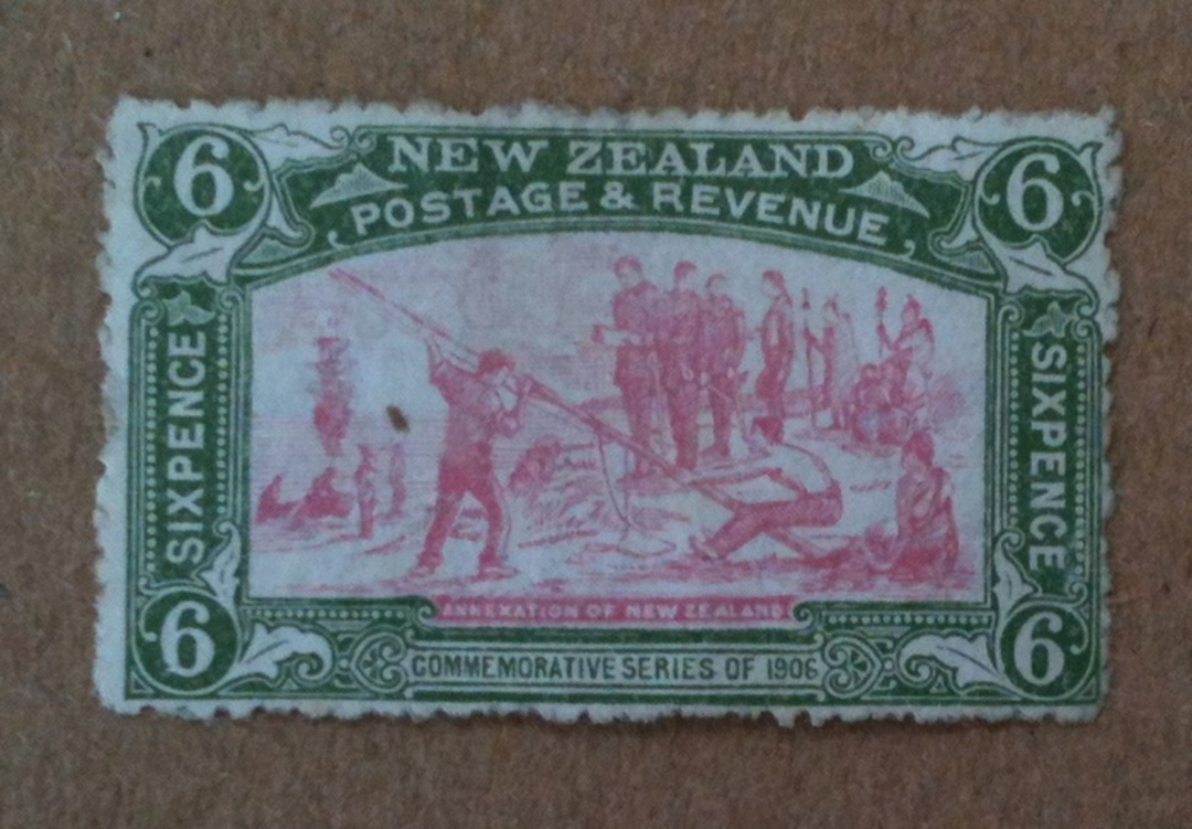 NEW ZEALAND 1906 Christchurch. Exhibition 6d Green and Pink. Unhinged but there are minor imperfections in the gum. No toning. - image 0