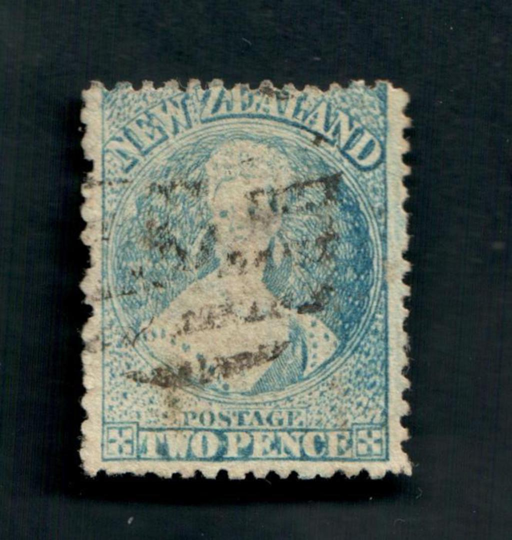 NEW ZEALAND 1862 Full Face Queen 2d Blue. Perf 12½. Worn plate heavily retouched on right. - 3554 - Used image 0