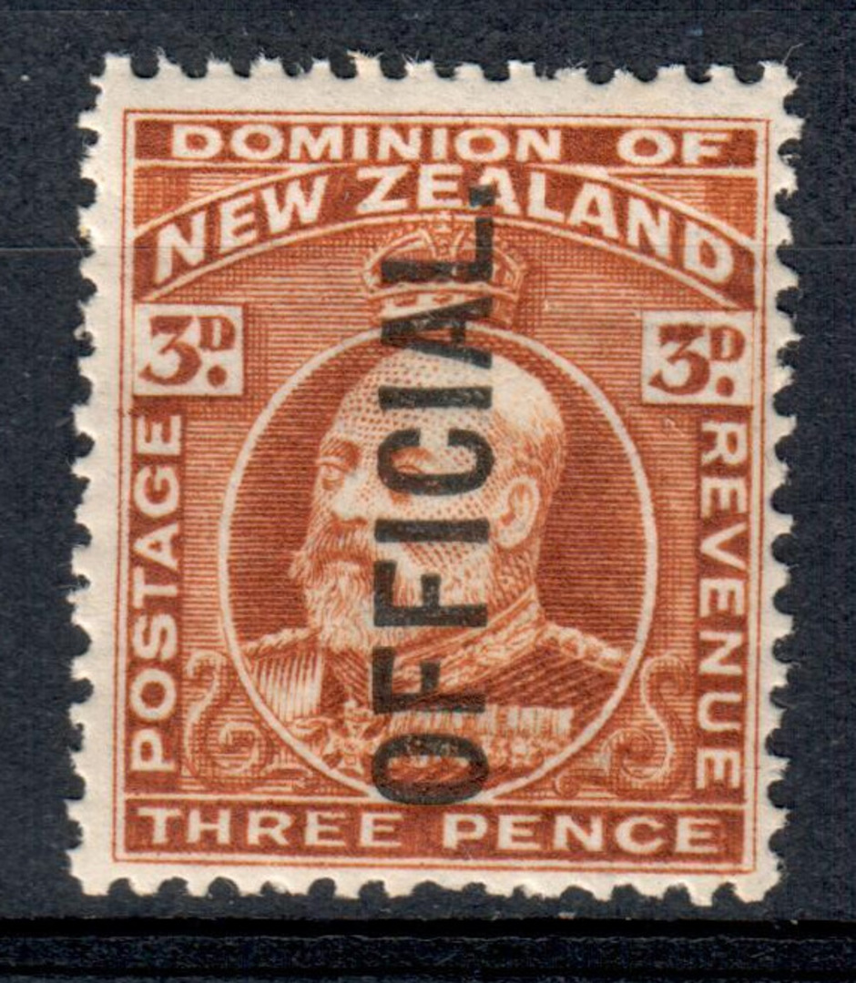 NEW ZEALAND 1909 Edward 7th Official 3d Brown. - 88 - UHM image 0