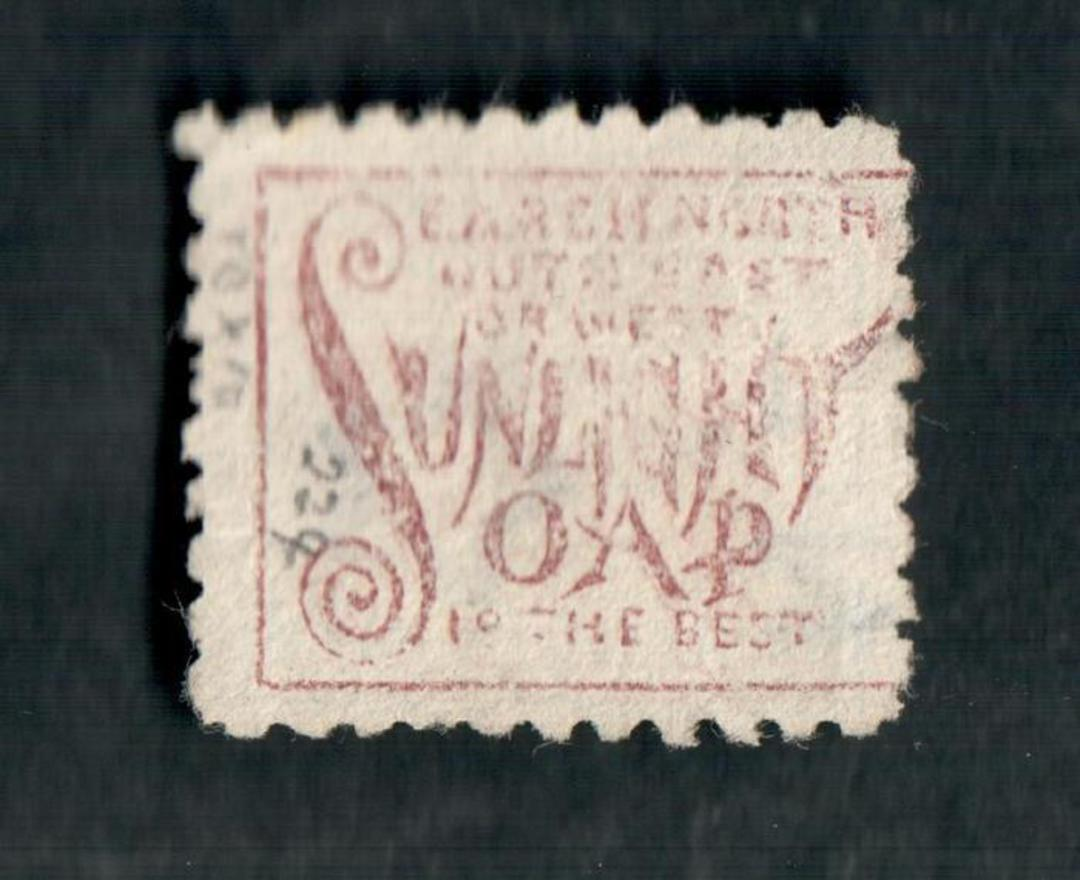 NEW ZEALAND 1882 Victoria 1st Second Sideface 8d Blue. Perf 10. 3rd setting in Brown-Purple. Sunlight Soap. - 4007 - FU image 1
