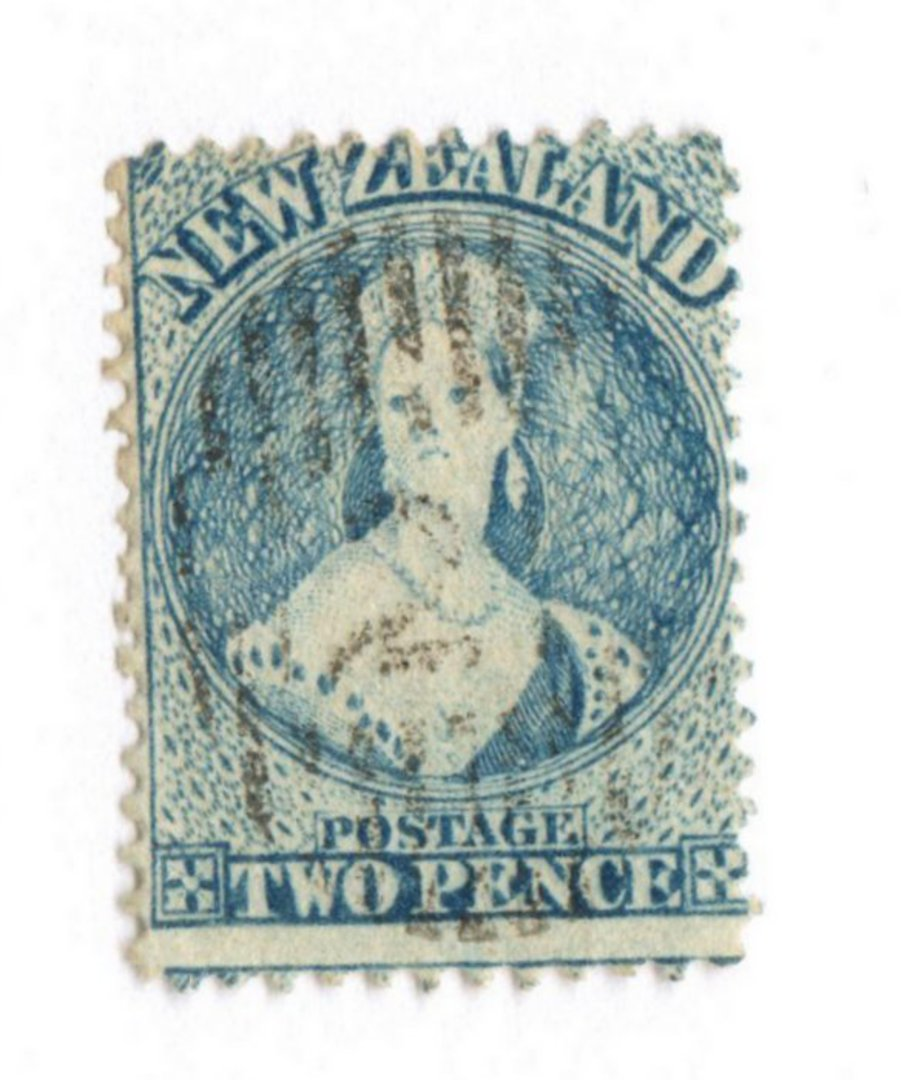 NEW ZEALAND 1862 Full Face Queen 2d Pale Blue. Worn Plate. Row 16/10. - 39536 - VFU image 0