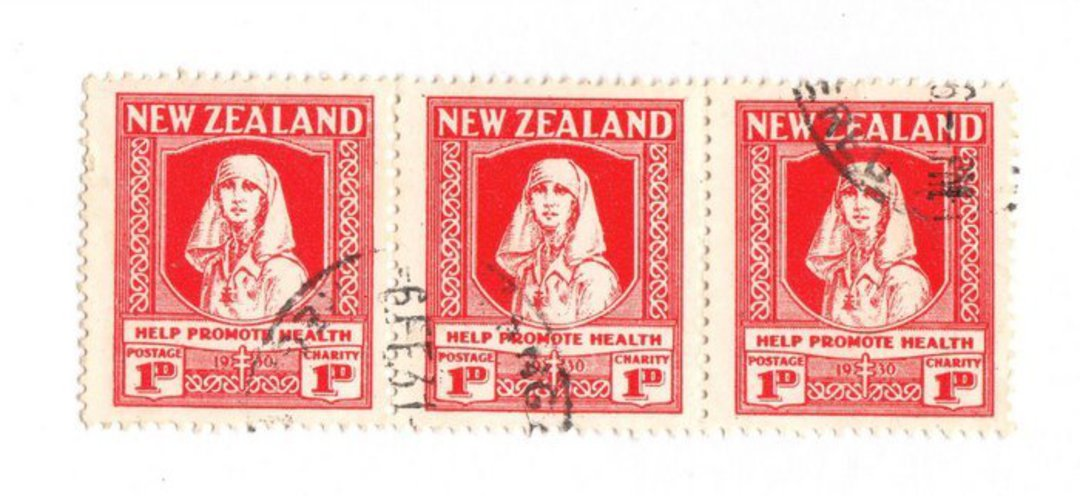 NEW ZEALAND 1930 Health. Strip of 3 in very fine used condition. Lovely item. - 74053 - VFU image 0