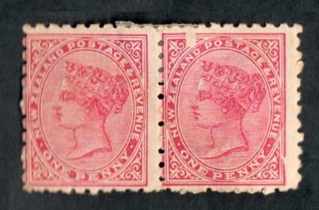 NEW ZEALAND 1893 Second Sideface 1d Red. Pair (one with the chisel flaw) and adverts from the 1st setting. Hinged mint but good image 0