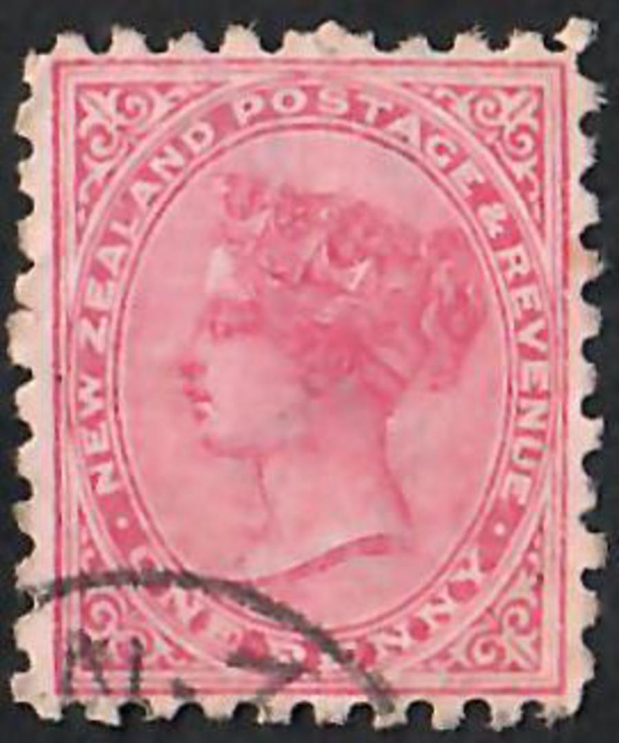 NEW ZEALAND 1882 Victoria 1st Second Sideface 1d Red. Lochhead's Wertheim Sewing Machines. Branches Everywhere.  Second setting. image 0