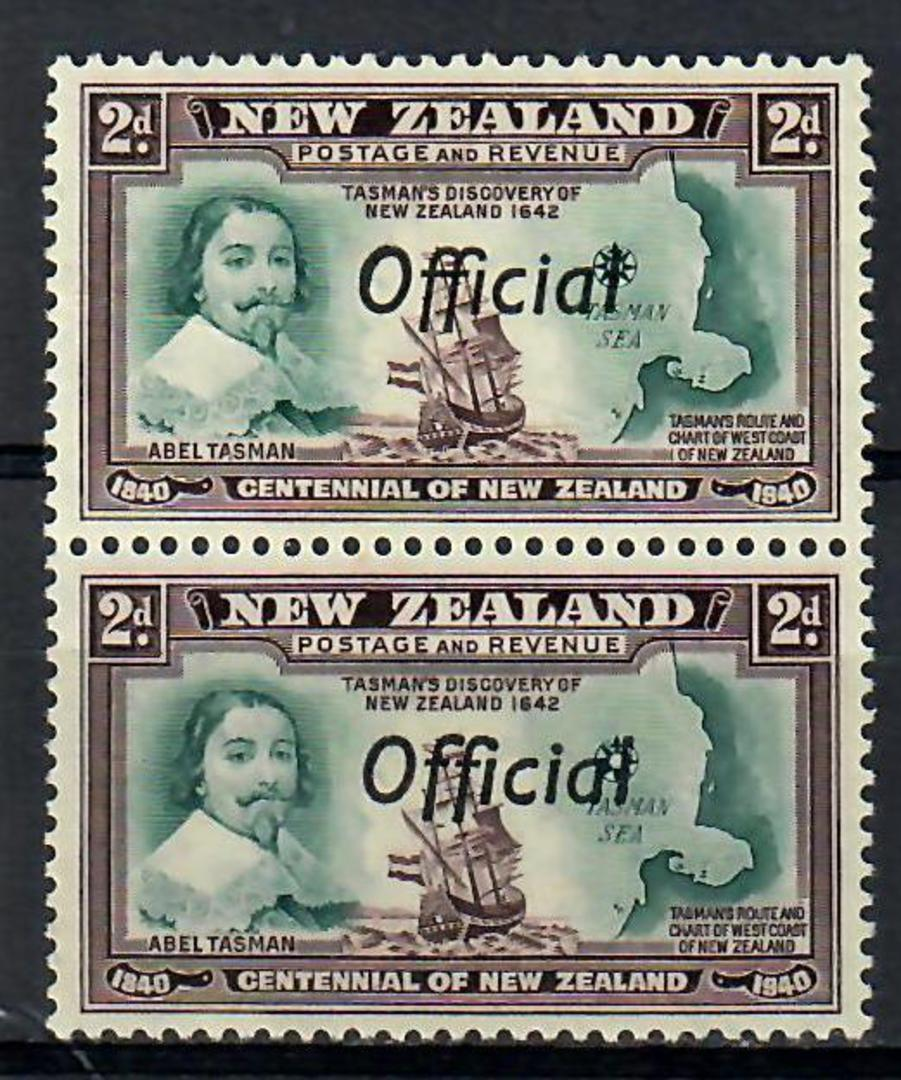 NEW ZEALAND 1940 Centennial Official 2d Abel Tasman with the Joined ff flaw. - 74122 - Mint image 0