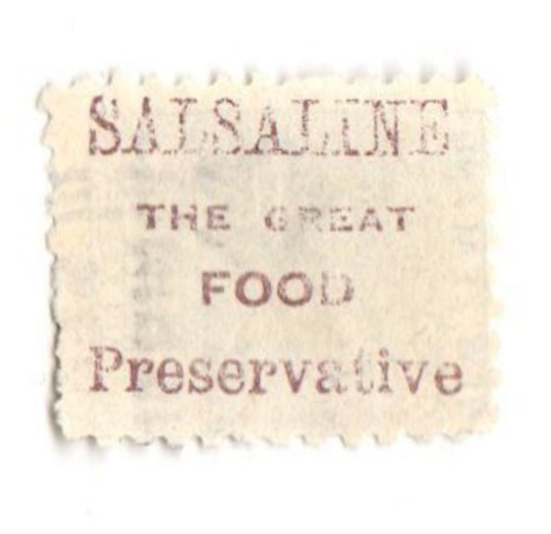 NEW ZEALAND 1882 Victoria 1st Second Sideface 4d Green. Salsaline the Great Food Preservative. Perf 10. In mauve. - 3979 - FU image 0