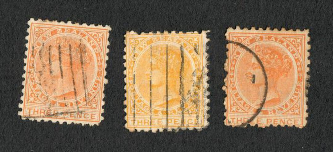 "NEW ZEALAND 1882 Victoria 1st Second Sideface 3d ""Yellow"". Thee clearly different shades. Commercially used. - 75191 - Used image 0"