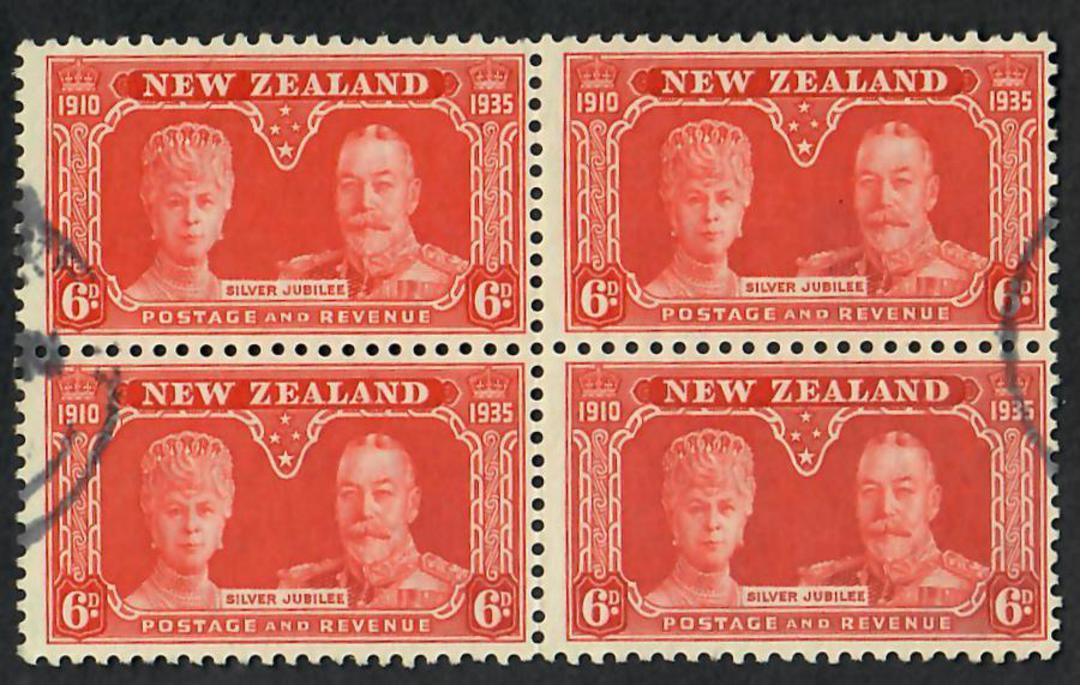 NEW ZEALAND 1935 Silver Jubilee 6d Orange. Block of 4. - 21805 - FU image 0