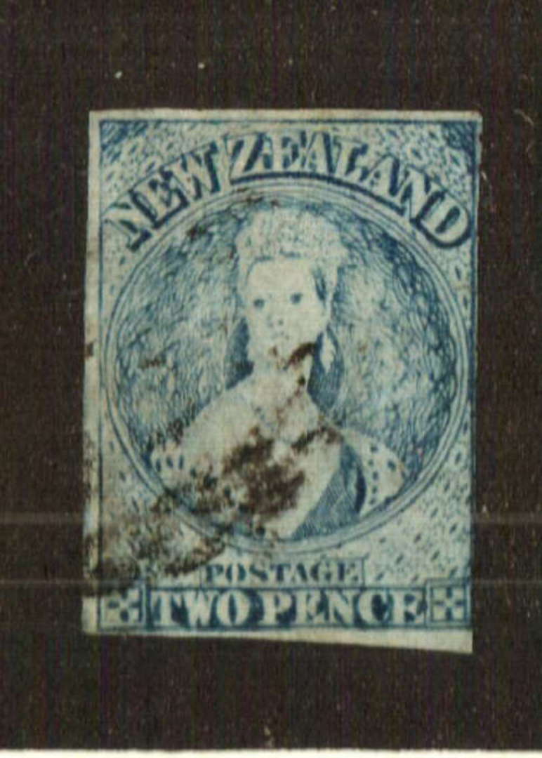 NEW ZEALAND 1855 Full Face Queen 2d Pale Blue. Plate 1 worn. Watermark NZ. Imperf. Almost four margins, just touching at right. image 0