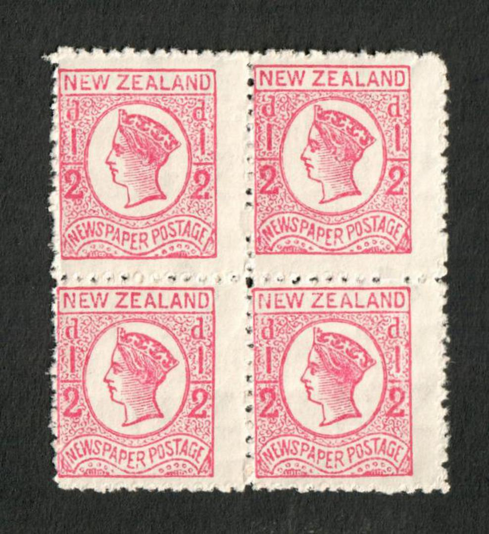 NEW ZEALAND 1873 ½d Newspaper Stamp. Perf 12½. Block of 4. - 20663 - UHM image 0
