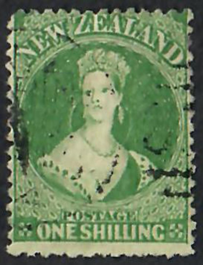 NEW ZEALAND 1862 Full Face Queen 1/- Green. Perf 13. - 60076 - VFU image 0