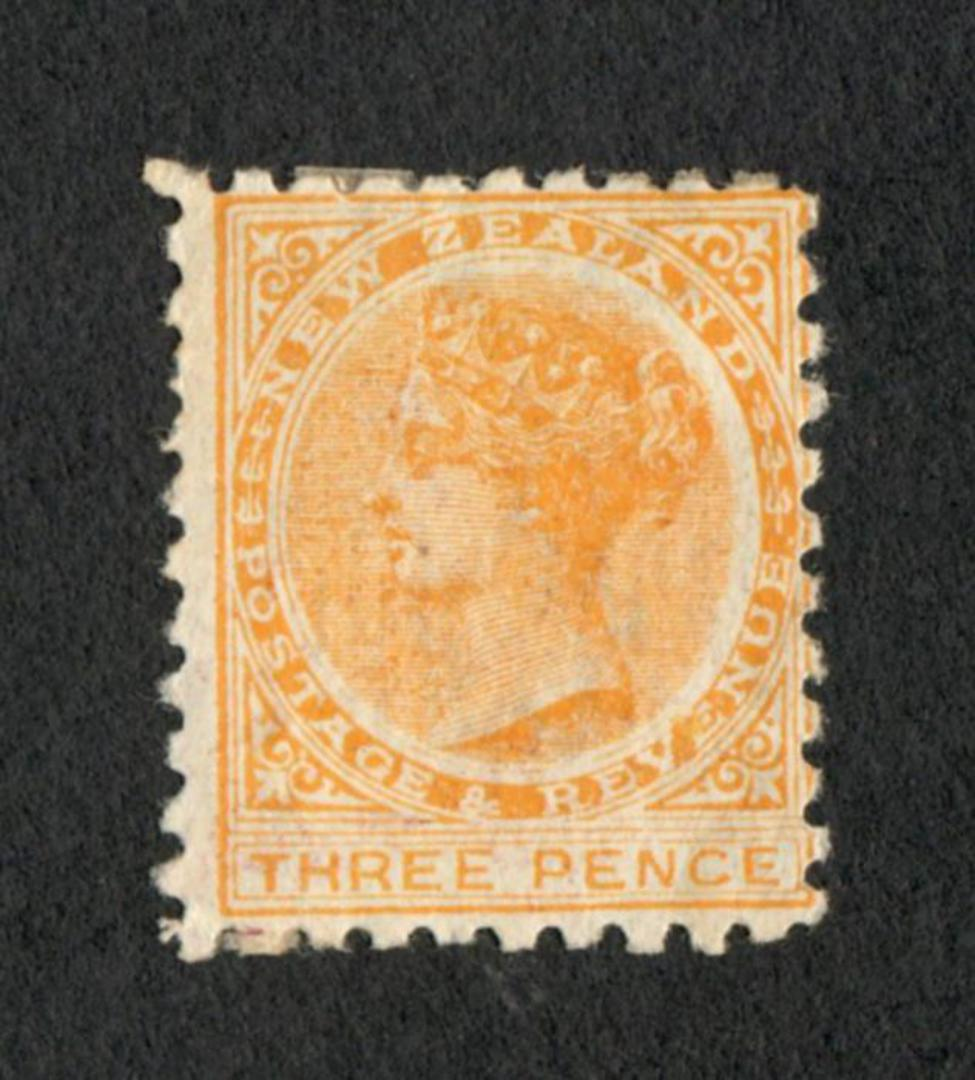 NEW ZEALAND 1882 Victoria 1st Second Sideface 3d Yellow with advert 2nd setting in Brown. - 75114 - Mint image 0