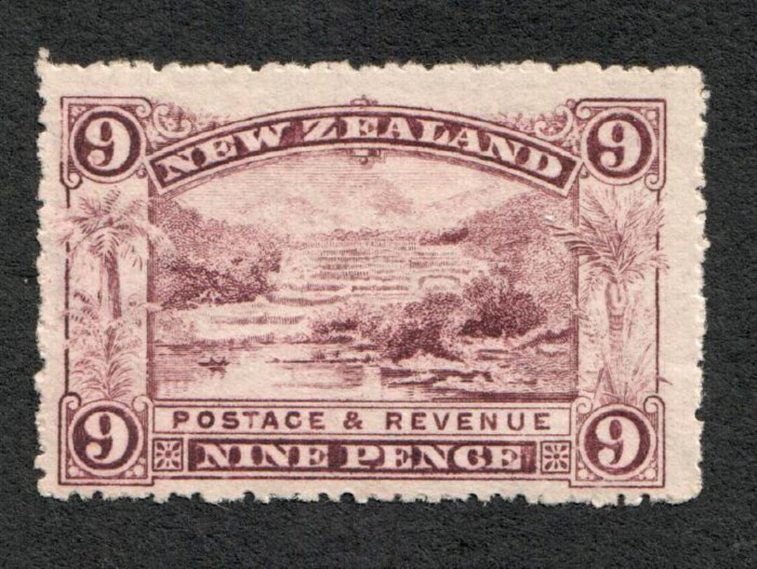 NEW ZEALAND 1898 Pictorial 9d Reddish Purple. Third Local Issue on Cowan Watermarked Paper. Perf 14. Light hinge remains. CP E17 image 0