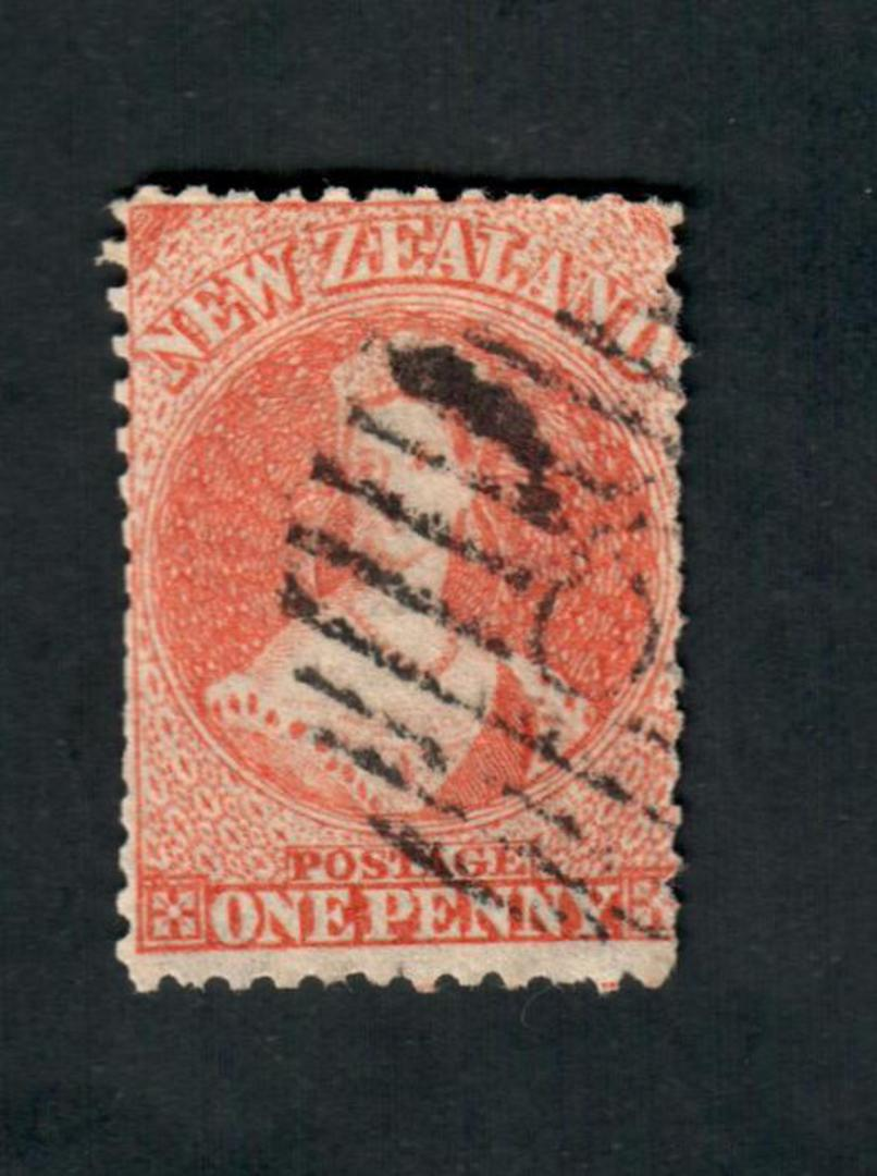 NEW ZEALAND 1864 Victoria 1st Full Face Queen 1d Orange. Trimmed perfs. Poor postmark. - 39080 - Used image 0