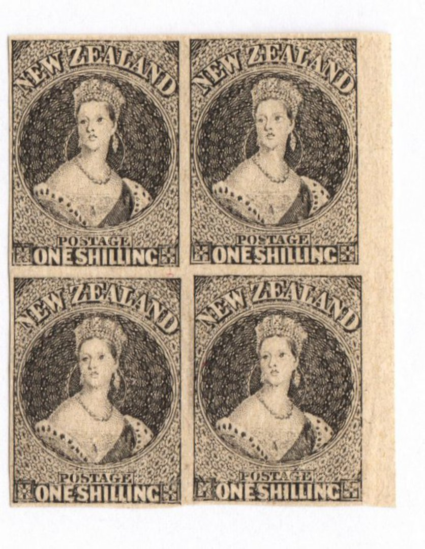 NEW ZEALAND 1855 Full Face Queen Hausberg Proofs in blocks of four. Eight blocks. - 37907 - image 5
