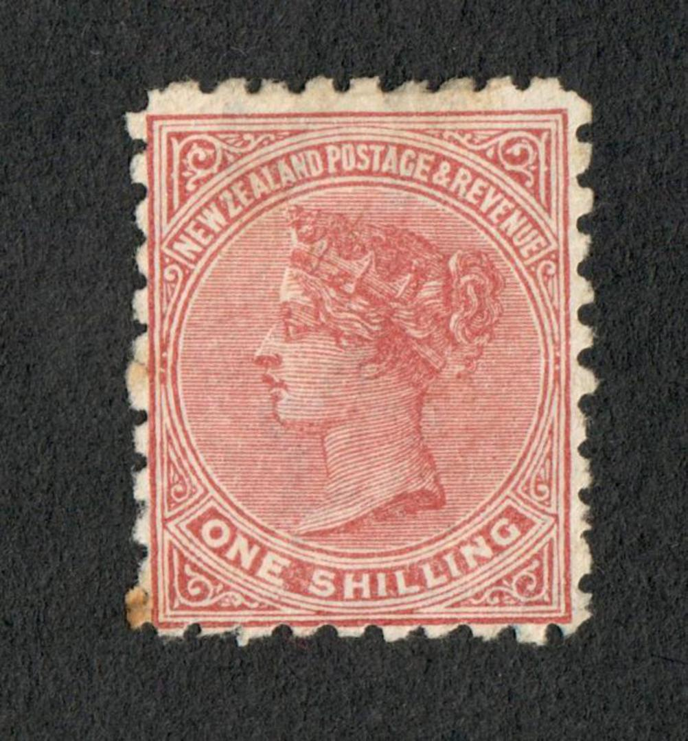 NEW ZEALAND 1882 Victoria 1st Second Sideface 1/- Red-Brown with advert 3rd setting in Red. Use the Best Soap Sunlight. - 75112 image 0
