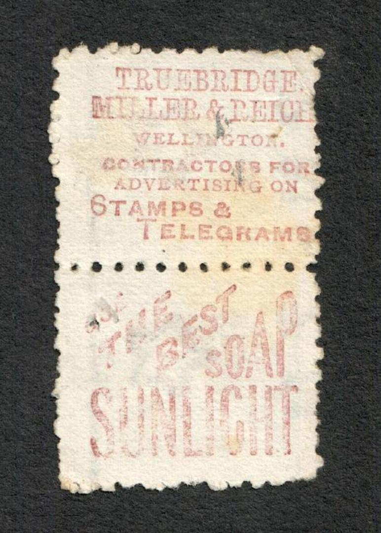 NEW ZEALAND 1882 Victoria 1st Second Sideface 2½d Blue. Pair with adverts in purple-red. - 75066 - VFU image 1