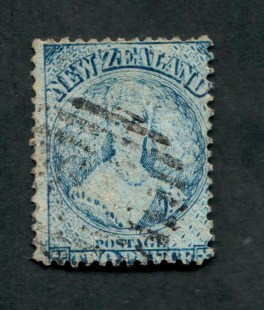 NEW ZEALAND 1862 Full Face Queen 2d Pale Blue. Plate 1 worn. Perf 12½ at Auckland. - 39086 - Used image 0