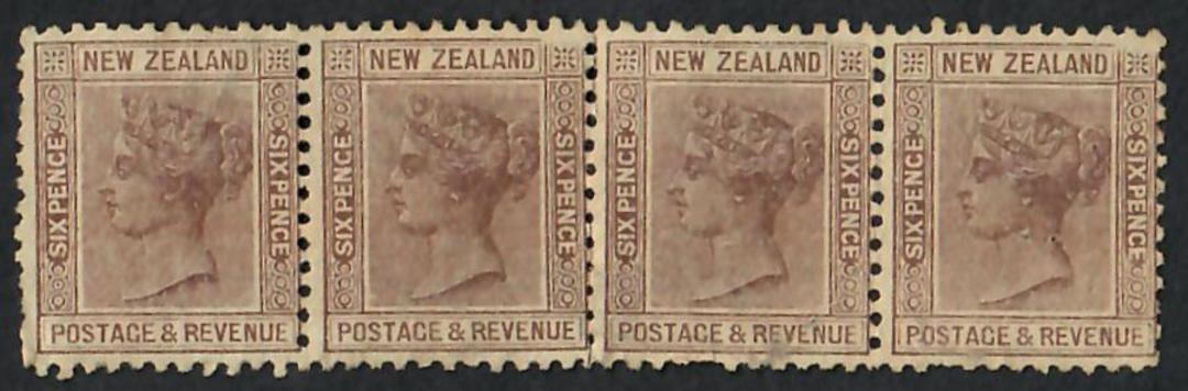 NEW ZEALAND 1882 Victoria 1st Second Sideface 6d Brown. Perf 11. Strip of 4 mint with no gum. Middle Perf line partly broken the image 0