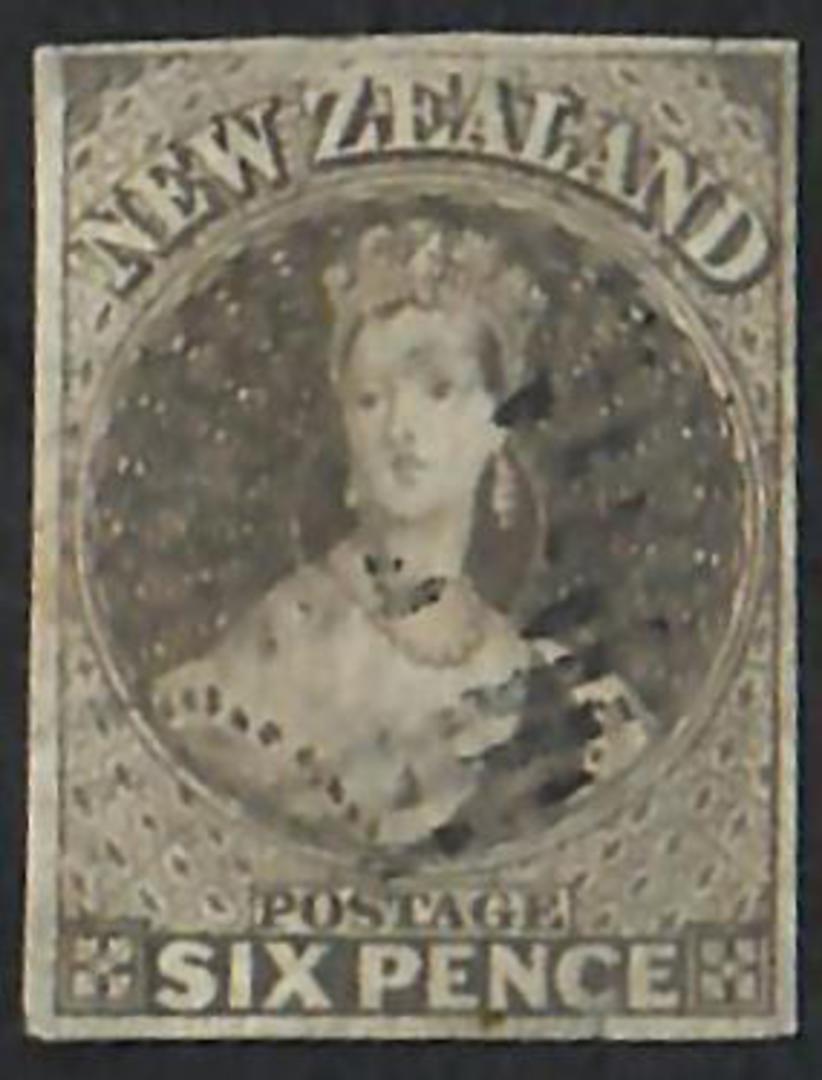 NEW ZEALAND 1855 Full Face Queen 6d Black-Brown. Imperf. Light postmark. Four margins. - 60056 - FU image 0