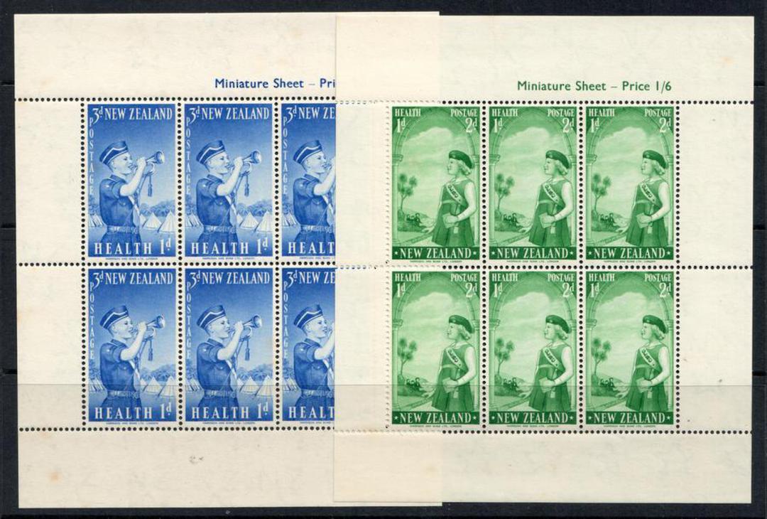 NEW ZEALAND 1958 Health Miniature sheets. Set of 2. Boys Brigade. Girls Brigade. - 12658 - UHM image 0