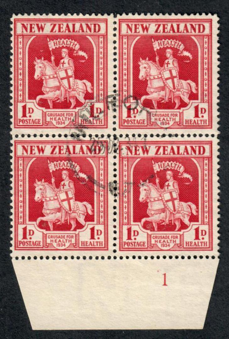 NEW ZEALAND 1934 Health Crusader 1d Carmine. Block of 4. Plate 1. - 75084 - VFU image 0