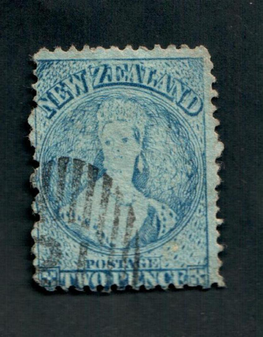 NEW ZEALAND 1862 Full Face Queen 2d Blue. Perf 12½. Extensive plate wear. Light postmark off face. One dull corner. - 3559 - Use image 0