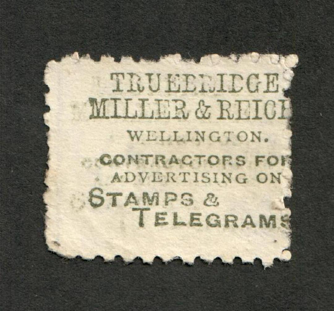 NEW ZEALAND 1882 Victoria 1st Second Sideface 2d Lilac. Perf 10. Advert in Green. Truebridge Miller . .......................... image 0
